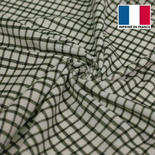Velours d'habillement écru motif carreaux fins vert foncé