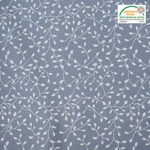 Flanelle de coton bleue imprimée petites feuilles blanches