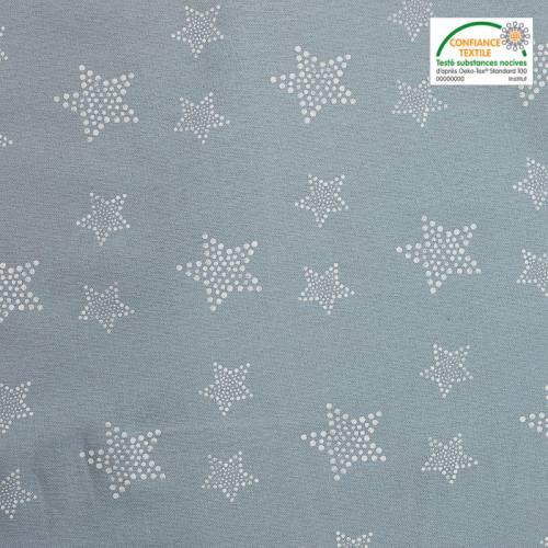 Flanelle de coton bleue imprimée étoiles à pois blancs