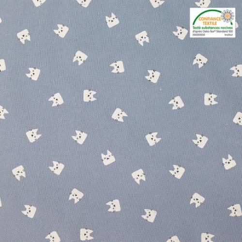 Flanelle de coton bleue imprimée chats blancs
