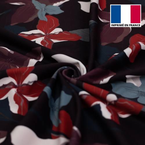 Velours d'habillement bleu marine motif fleur graphique rouge et bleu horizon