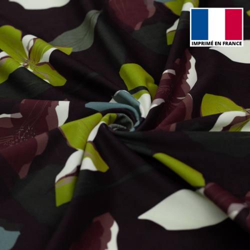 Velours d'habillement bleu marine motif fleur graphique anis et prune