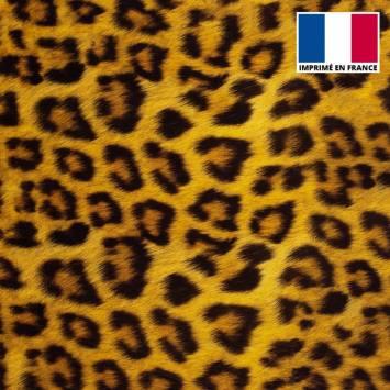 Velours d'habillement motif fourrure léopard