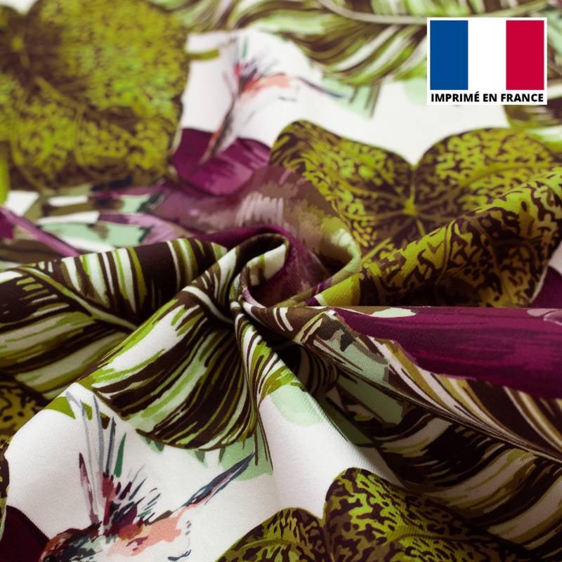 Velours ras imprimé jungle et colibri violet