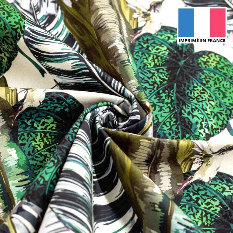 Velours ras imprimé jungle et colibri émeraude