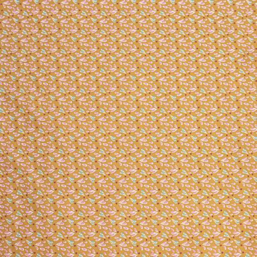 Coton tipavao caramel motif gouttes roses et bleues