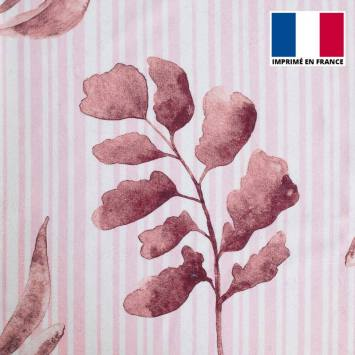 Eponge blanche imprimée rayures et feuilles roses