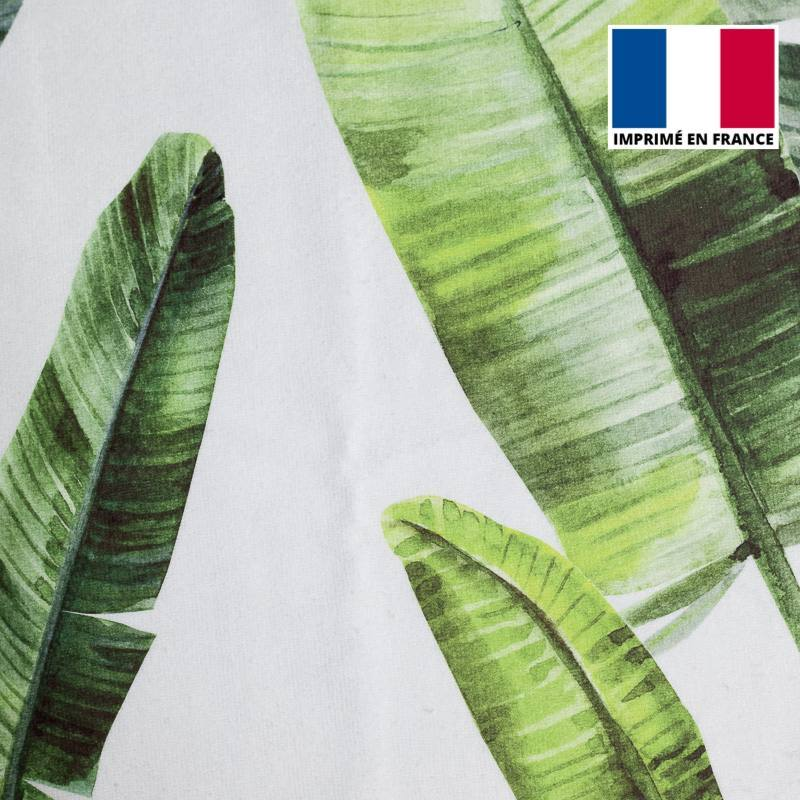 Eponge blanche imprimée feuilles de palmier vertes