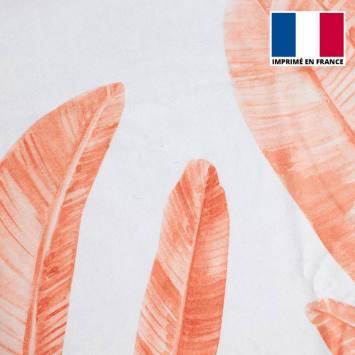 Eponge blanche imprimée feuilles de palmier rouges
