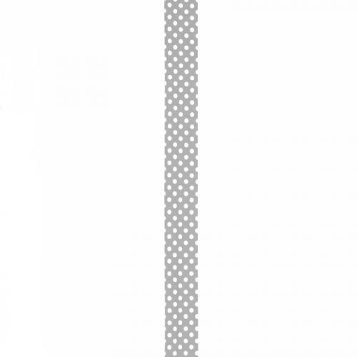 Biais replié gris à pois blanc