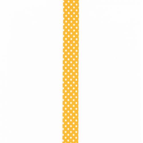 Biais replié jaune à pois blanc