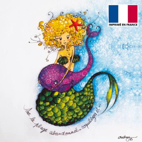 Coupon toile canvas sirène et baleine - Création Audrey Baudo