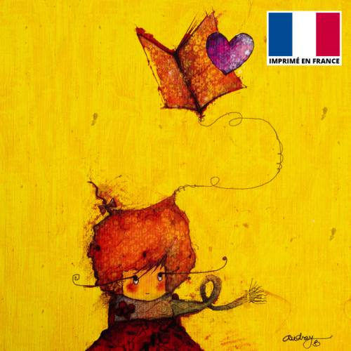Coupon toile canvas fille et livre - Création Audrey Baudo