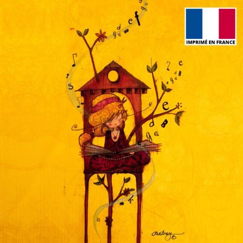 Coupon toile canvas fille et lettres - Création Audrey Baudo