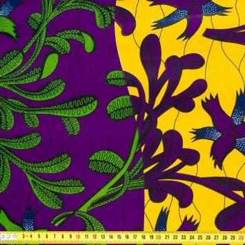 Wax - Tissu africain arbuste vert violet 422