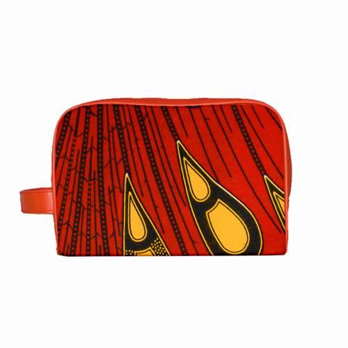 Wax - Tissu africain rouge goutte jaune 419