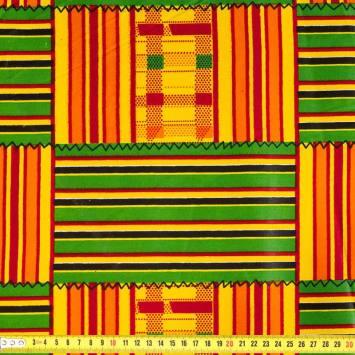 Wax - Tissu africain rayures jaunes 413