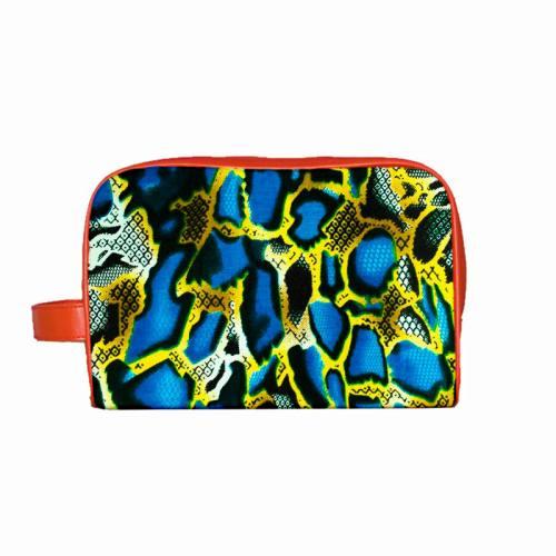 Wax - Tissu africain snake coloré jaune et bleu 409