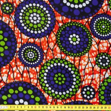 Wax - Tissu africain orange sanguine cercle bleu 424