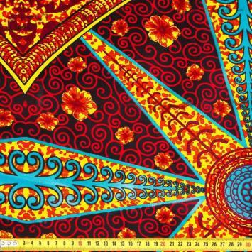 Wax - Tissu africain triangles et arabesques orange 403
