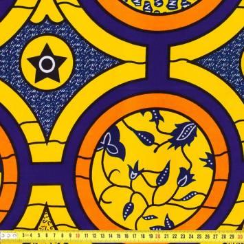 Wax - Tissu africain jaune et violet 429