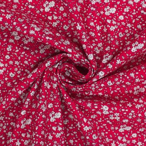 coupon - Coupon 25cm - Coton petite fleur rouge et blanche