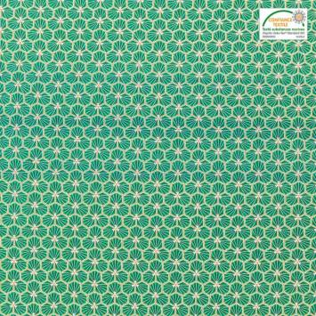 coupon - Coupon 76cm - Coton vert motif trèfle riad