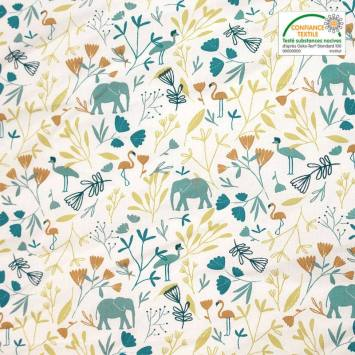 Coton blanc imprimé feuilles et oiseaux verts et bleus jinjua