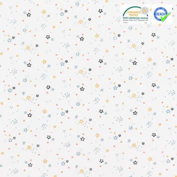 coupon - Coupon 45cm - Coton blanc motif étoile ocre et bleue zenor