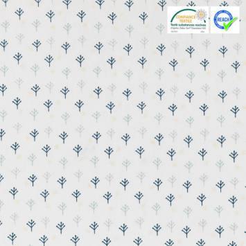 Coton Noël blanc motif nomar bleu