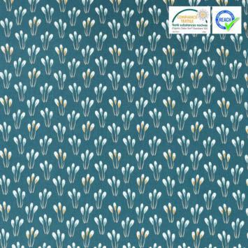 Coton bleu canard motif fleurs ocre papluma