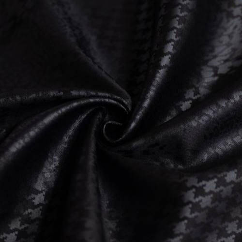 Tissu scuba noir imprimé léopard et pied de poule relief noir