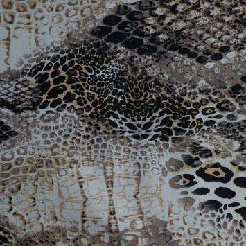 Gabardine de coton extensible nuances de marron imprimée reptile et léopard