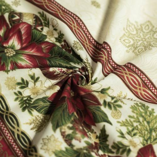 Tissu pour nappe de Noël écru, rouge et or