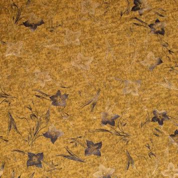 Jersey lainage moutarde chiné imprimé fleurs dorées