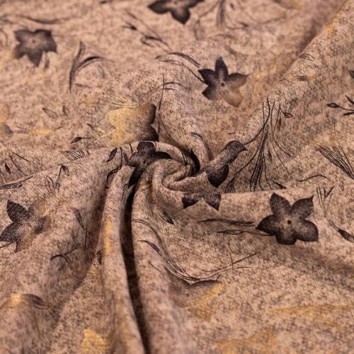 Jersey lainage rose cuisse de nymphe chiné imprimé fleurs dorées