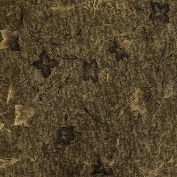 Jersey lainage vert militaire chiné imprimé fleurs dorées