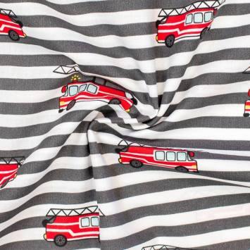 Popeline de coton rayée blanche et grise motif camion de pompier
