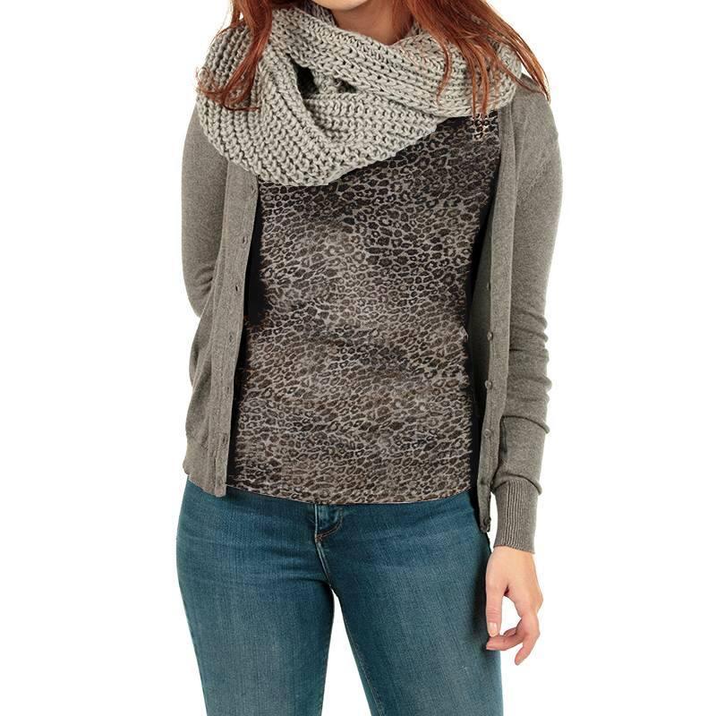 Tissu maille tricot pailleté imprimé léopard grège