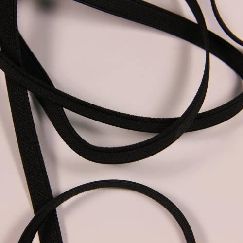 Elastique côtelé noir 10 mm