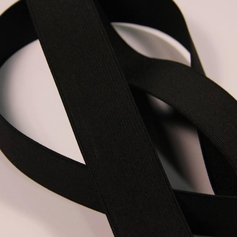Elastique côtelé noir 35 mm