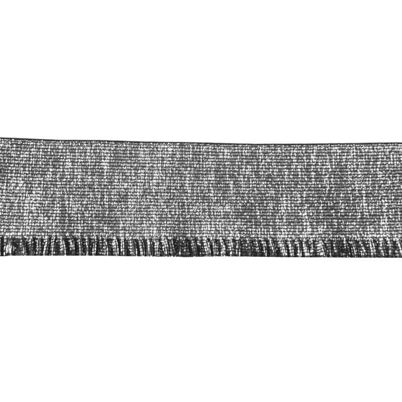 Elastique Bord Cote 60mm lurex argenté