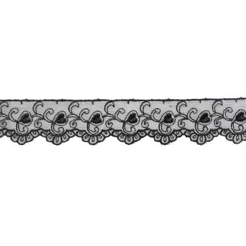 Dentelle broderie 35mm motif petits coeurs sur tulle noir
