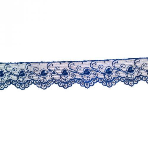 Dentelle broderie 35mm motif petits coeurs sur tulle bleu nuit