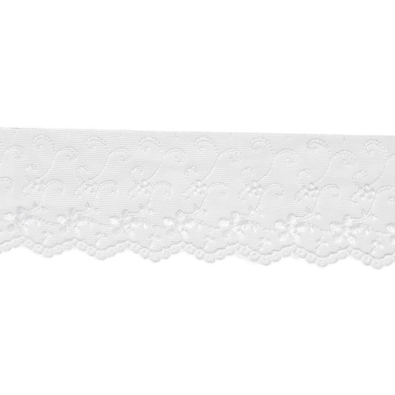 Dentelle broderie motif fleurs sur tulle blanc