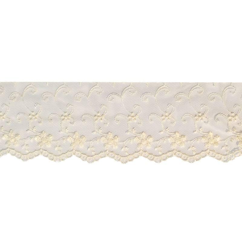 Dentelle broderie motif fleurs sur tulle écru