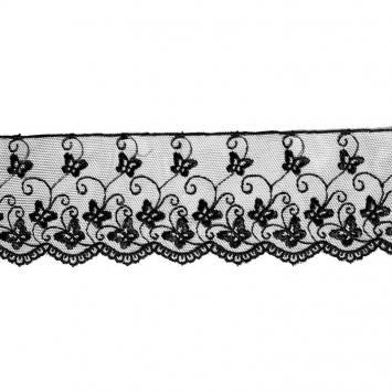 Dentelle broderie motif petits papillons sur tulle noir