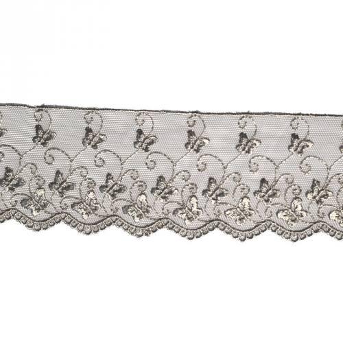 Dentelle broderie 65mm motif papillons sur tulle gris