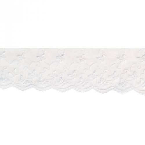 Dentelle broderie 65mm motif papillons sur tulle blanc