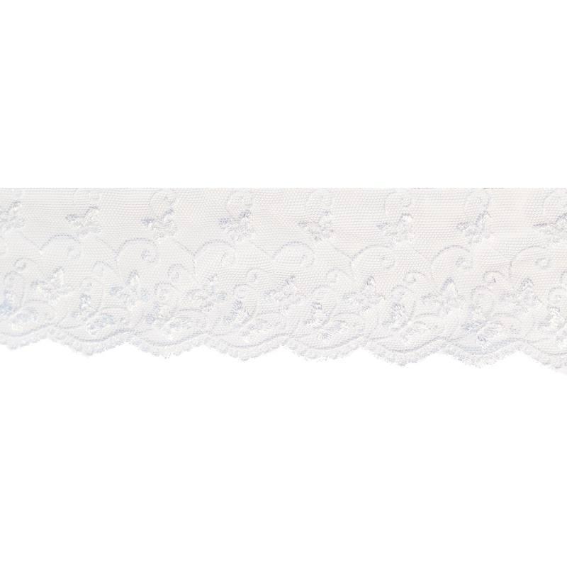Dentelle broderie motif papillons sur tulle blanc
